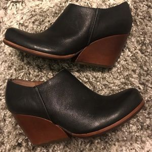 Kork-Ease Natalya Black Leather Wedge Booties